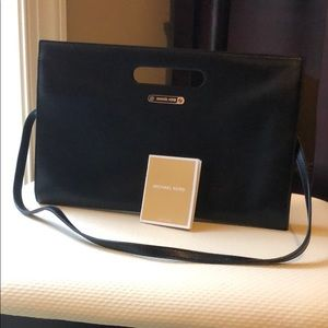 Michael Kors black leather evening clutch
